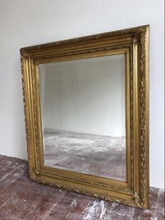 Large gold-plated Louis XVI style mirror - 2nd half of 20th century