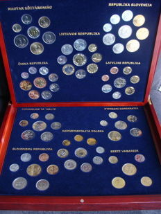 """Europe – series of coins of various years """"Accession of EU countries in 2004"""" (10 pieces) in wooden box"""