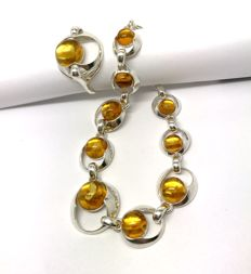 Bracelet & ring natural Baltic Amber beads (not pressed) in sterling silver 925