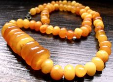 Art Deco natural amber necklace with inclusions, 19.1g, not pressed and not treated