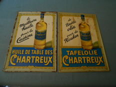2 tin signs for chartreux oil, 1 Dutch (1953) and 1 French) 1957)