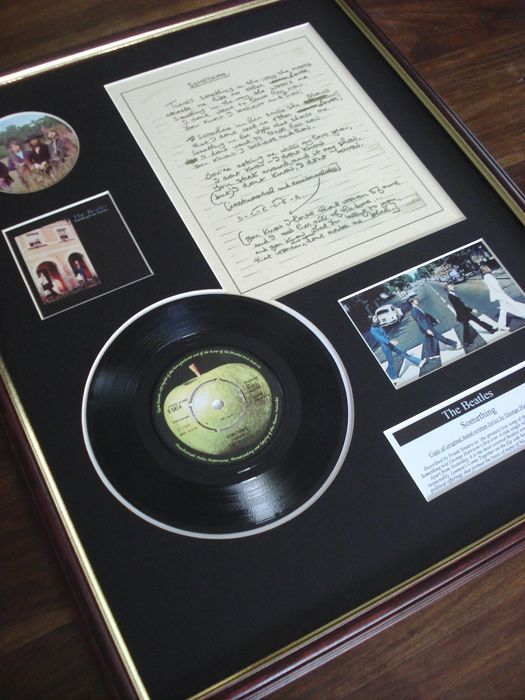 "The Beatles Something original handwritten lyrics display / 7"" vinyl record display"