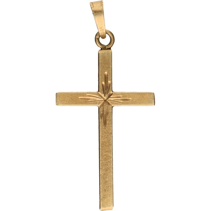 14 kt – Yellow gold decorated cross – Length x width: 3.9 x 1.5 cm