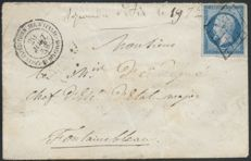 France 1859 - Napoleon, cancelled with a Grid, Italian Expeditionary Corps, signed by Pothion - Yvert No. 14A