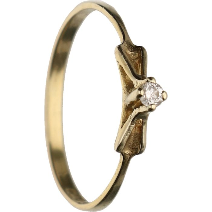 8 kt BLGG - Yellow gold ring set with 1 brilliant cut diamond of approx. 0.03 ct - Ring size: 17.75 mm