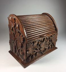 Oak letters box with roller shutter and carved decor - France - 1914