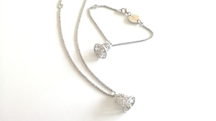 Silver bracelet and necklace, made in Italy - Bell pendant dimensions: 11 x 13 mm, chain diameter: 2 mm Central width: 20 mm
