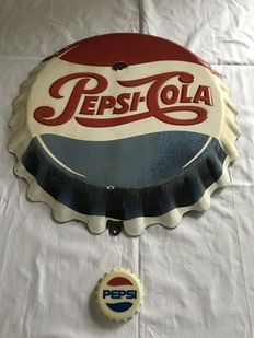 Pepsi advertising sign in the form of crown cork - presumably 1950s