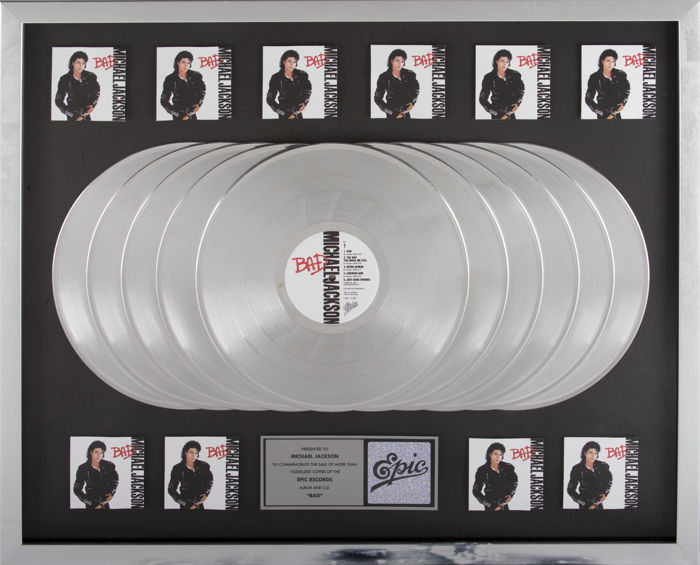 Michael Jackson - Bad 10x Platinum Epic Records In-house Award - Catawiki