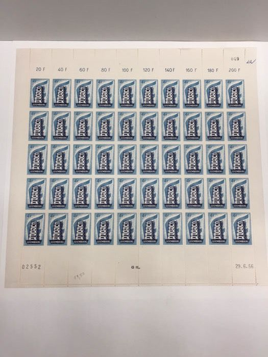 Luxembourg 1956 - Europa Echafaude  - complete sheet of 50 stamps 4 F dated 29/06/56