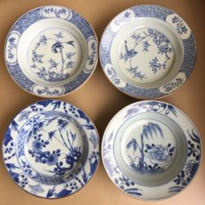 Four plates with songbirds and flowers, Qianlong - China - 18th century