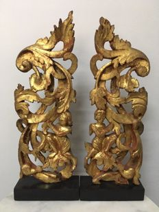 2 Wooden Gilt Cravings. Mandalay period - Burma - 19th century.