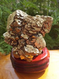 Golden cubic pyrite crystals specimen with wooden base - 130 x 95 x 72mm - 1248 g