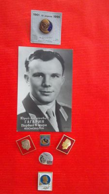 First official portrait Gagarin and six special Gagarin pins