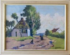 Unknown - Three different paintings (20th century) - landschap kerk interieur