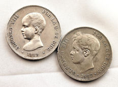 Spain - Alfonso XIII - Lot 5 Silver Pesetas - 1888 MPM and 1897 - Madrid