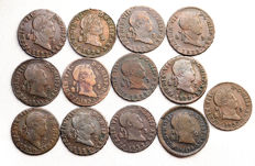 Spain - Fernando VII - Lot of 2 copper Maravedis - 13 pieces - Segovia