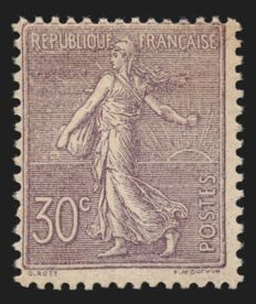 France 1903 - lined Semeuse 30c purple - Yvert no. 133.
