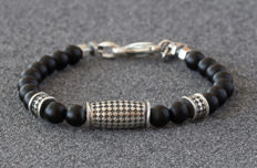 Men's bracelet - Sterling Silver & matte black Onyx