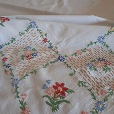 Colourful tablecloth with handmade embroidery