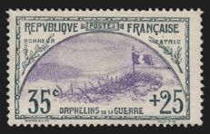 France 1917 - Orphans 35c and 25c slate and violet, signed by A. Brun - Yvert no. 152.