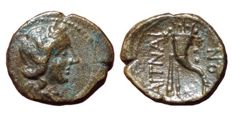The Greek Antiquity - Sicily, Aitna ca. 210 BC - Æ Hexas (16mm, 2,88g.) - Head of Persephone / Cornucopiae - Mont. 3766; SNG ANS 1162; CNS III, 12