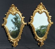 A pair of wall mirror / candle sconces in golden Swiss pine wood - Italy, Venice - ca. 1900