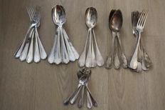 37 piece silverware set, silver plated metal, from Christofle, Paris, France, 20th century
