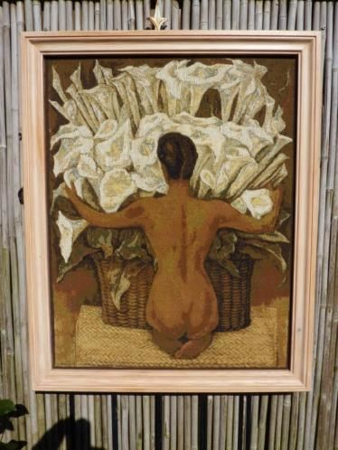 Woven canvas with nude by Diego Rivera - Mid-20th century