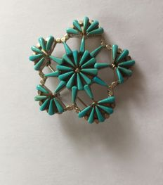 Zuni (USA) brooch (double system) – signed with needle 50s/60s.