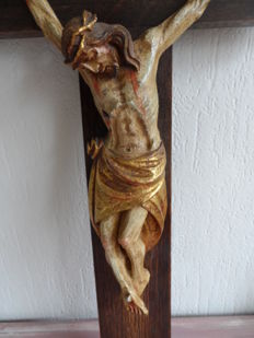 Crucifix, oak cross and plaster corpus with gold leaf - 20th century