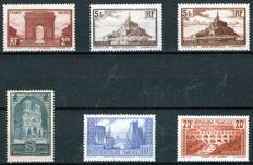 France 1929/1932 – Selection of stamps – Yvert no. 258, 259a, 260a, 261b, 262A.