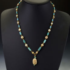 Necklace with Egyptian faience and Roman glass beads with steatite scarab - 52 cm
