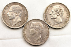 Spain - Alfonso XIII - Lot 5 pesetas silver coins - 1875, 1878 and 1885*87 MPM - Madrid