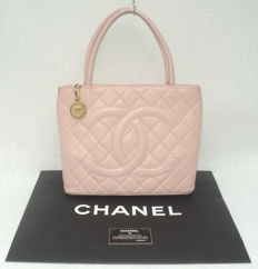 Chanel - Pale Rose Blush Lambskin Diamond Quilted CC Medallion Shoulder/Tote/Hand Bag