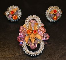 Signed DE MARIO NEW YORK - Brooch and earrings set  Ca. 1950s