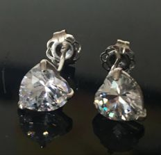 14KT White Gold Stud Earring Set With Created Moissanites,  Length :  6mm