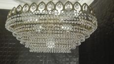 Crystal and brass chandelier lamp. 20th century.