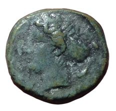 The Greek Antiquity - Sicily, Syracuse, 2nd Democracy / Dionysos I (466-405 BC) - Æ Hemilitron (16mm, 3,91g), c. 410-405 BC - Head of Arethusa / Wheel - CNS 20; HGC 2, 1479
