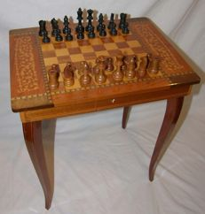 Rare Italian music table with chess board + chess pieces