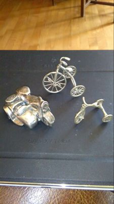 Antique SideCar and 2 velocipedes - 800 silver