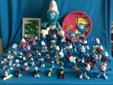 Very large collection of Smurfs, 234 pieces, clock and puzzle including 10 x Sleich