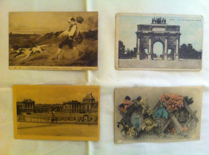 France - lot of 210 old postcards, some semi-modern postcards of cities, villages and others