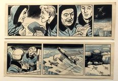 "Sprenger, Henk - 2 Successive original strips for ""Piloot Storm"" - (1950s)"
