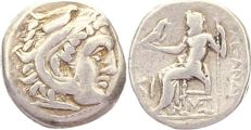Ancient Greece - Macedonia.  Alexander III., the Great, 336-323 BCE AR Drachma (under Antigonus I Monophthalmus, 310-301 BCE). Lampsakos