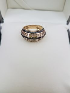 Yellow gold ring with carré cut citrine and onyx - made in Italy - size 13