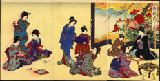 "Woodcut triptych by Toyohara Chikanobu (1838-1912) - 'Writing a letter' from the series ""Women's etiquette"" - Japan - 1890"