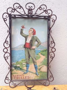 Authentic Vintage Chromolithographic Publicity Banyuls Trilles by Romolo Tessari  prob. ca. 1900