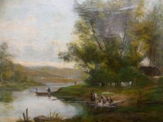 Edouard Duparc (end XIX century - early XX century) - Barbizon Landscape with fisherman and laundresses