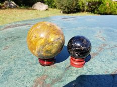 Sphere of Black Fluorite and Yellow Agate - 5.5 cm - 8.5 cm - 287 gm - 1025 gm (2)